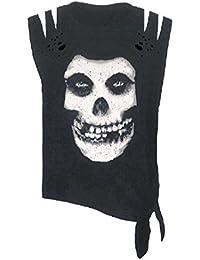 Misfits T Shirt Skull Logo Distressed Acid Wash Slashed Shoulders Sleeveless