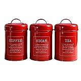 Set di 3 serbatoi di stoccaggio, bidone, tè, caffè, zucchero, stagno, in acciaio inossidabile, per la cucina rosso