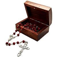 Católica aroma de rosa Madera Tallada Rose Pétalos Rosario Cuentas de 7 mm y de madera