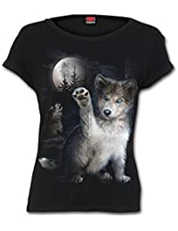 Spiral Women - Wolf Puppy - Boatneck Cap Sleeve Top Black