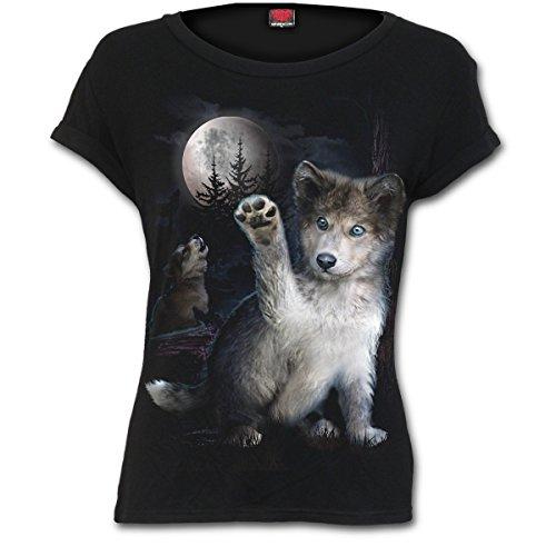 Spiral Wolf Puppy T - Shirt Top Wolff Hund Baby Gothic - Girlie (Tee T-shirt Puppy)