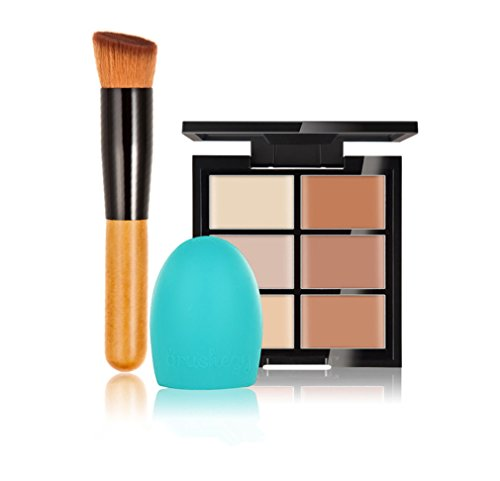 FantasyDay® 6 Farben Make-Up Creme Contour Concealer Abdeckcreme Camouflage Palette Highlighting Corrector Kontur Foundation Camouflage Palette + 1 Stück Make-up Pinsel + 1 Make-up Pinsel-Reiniger #2