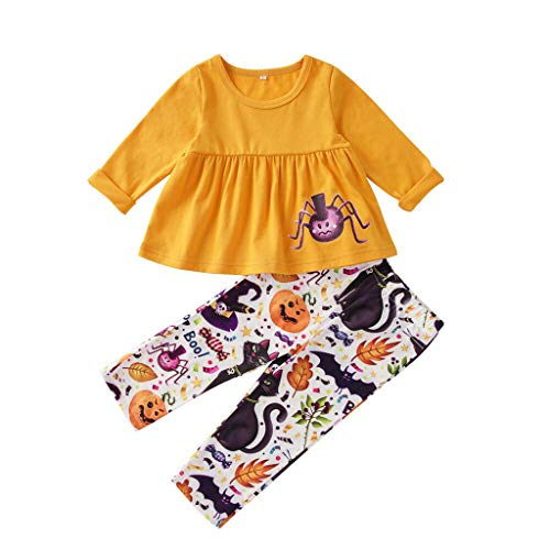 Frau Kind Spider Kostüm - Cuteelf Mädchen Set Cartoon Spider Print Top + Hose Zweiteiler Baby Girl Boy Halloween Cartoon Spider Print Top Hose Kostüm Kürbis Orange Set Halloween