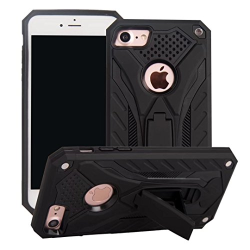 EKINHUI Case Cover Dual Layer Hybrid Armor Schutzhülle Shockproof Stoßfänger mit Kickstand für iPhone 7/8 ( Color : Red ) Black