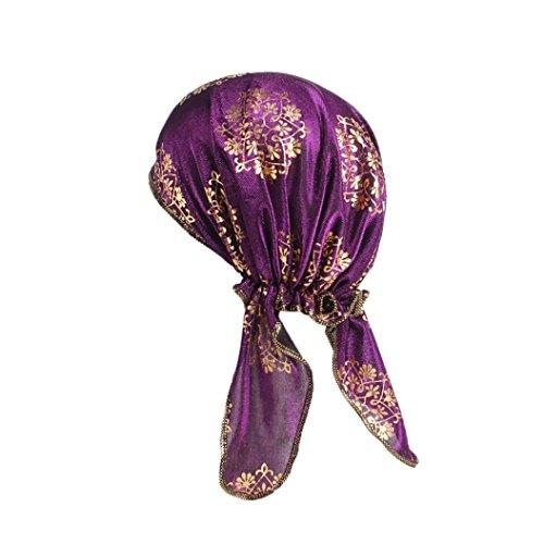 ch Frauen Indien Muslim Stretch Bandanas Schöne Kopftücher Retro Vintage Turban Hut Kopftuch Wrap Cap Headwear für Haarverlust, Krebs, Chemotherapie (Lila) ()