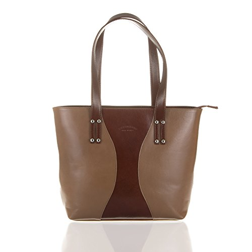 FIRENZE ARTEGIANI.borsa TOTE donna vera pelle.Borsa spalla vera pelle autentica rifinito Tamponato. Maniglia in pelle e tracolla regolabile. MADE IN ITALY.VERA PELLE ITALIANA.Color Taupe/Marrone