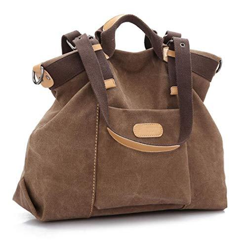 ZJEXJJ Damenhandtasche, Canvas große Totes Umhängetasche Hobo Bags Mode Retro lässig Umhängetasche Reisehandtaschen für Arbeit, Party, Strand (Color : Khaki, Size : One Size)