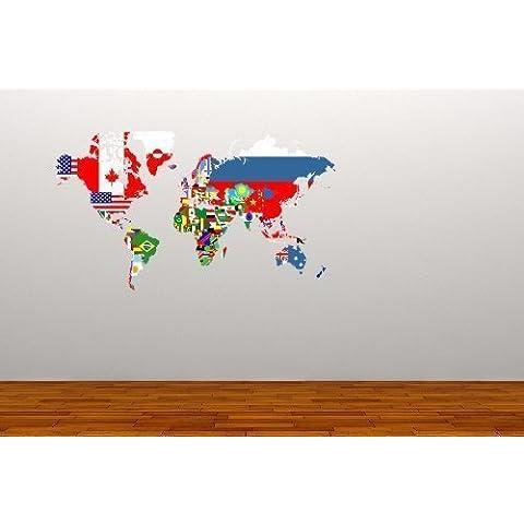 A todo color de mapa del mundo Diseño de banderas de países de vinilo adhesivo decorativo para pared de oficina decoración Graphic de viaje Study sala de