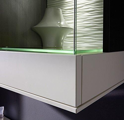 Design Wohnwand 4-teilig, mit Glasvitrinen, – Weiß Mattlack / Esche Grau Nachbildung, Soft Close-Dämpfung, Selbsteinzug, Wohngalerie Zerlegt - 4