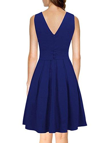 ILover Frauen 50s 60s Zurück V-Ausschnitt-Kreis Vintage-Rockabilly Swing-Party-Tanz-Kleid V034-blau