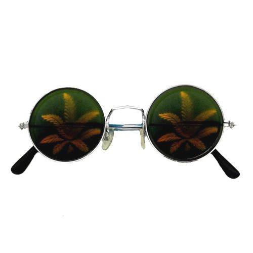 Brille Cannabis Holographie (Bob Kostüm Marley)