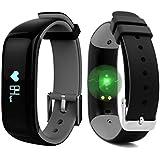 "ROGUCI 0.86 ""OLED Bluetooth Wearable Smartband, Impermeable IP67 pulsera pulsera inteligente, Monitor de presión arterial, Monitor de ritmo cardíaco,Gris"