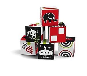 Miniland- First Senses: 6 Cubes Set Juego de Dados blanditos para bebé (97313)