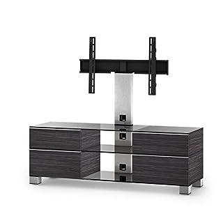Sonorous MD 8240-C-INX-AMZ Fernseher-Möbel mit Klarglas (Aluminium INOX, Korpus Holzdekor)