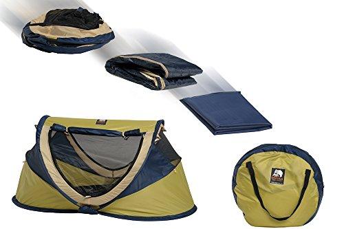 Deryan Reisebett/Travel-cot Peuter Luxe Reisebettzelt inklusive Schlafmatte, selbstaufblasbarer Luftmatratze und Tragetasche mit Pop-Up innerhalb 2 Sekunden aufgebaut, lime