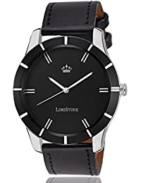 LimeStone Black Wolf Round Casual Analog Synthetic Leather Strap Black Dial Men's / Boy's Watch