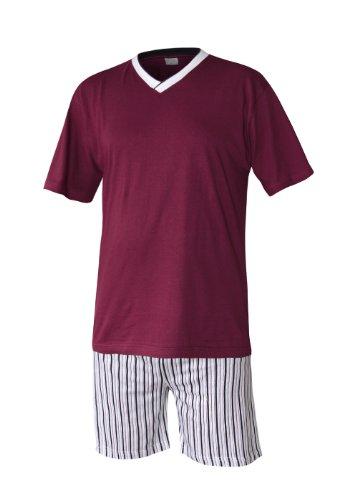 Herren Schlafanzug kurz Herren Pyjama kurz Herren Shorty Schlafanzug aus 100% Baumwolle (XXXL, oberteil rot/hose gestreift)