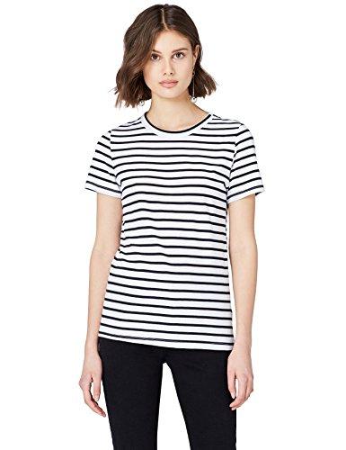 FIND Damen T-Shirt Crew Neck Weiß (White Stripe), 38 (Herstellergröße: Medium) (Crew Weiß T-shirt)