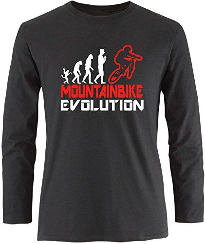 EZYshirt® Mountainbike Evolution Herren Longsleeve Schwarz/Weiss/Rot