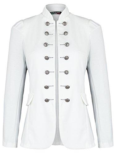 Damen Blazer Militäry Style ( 513 ) (44 / XXL, Weiß) (Lange Sakkos Damen)