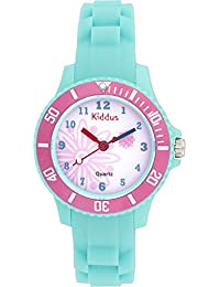 Kiddus - Montre Fille pour Enfants, Caisse-Cadeau, Submersible à l'eau (5ATM), Rose Fleur, Quartz mécanisme Seiko, Batterie Sony, KI10112