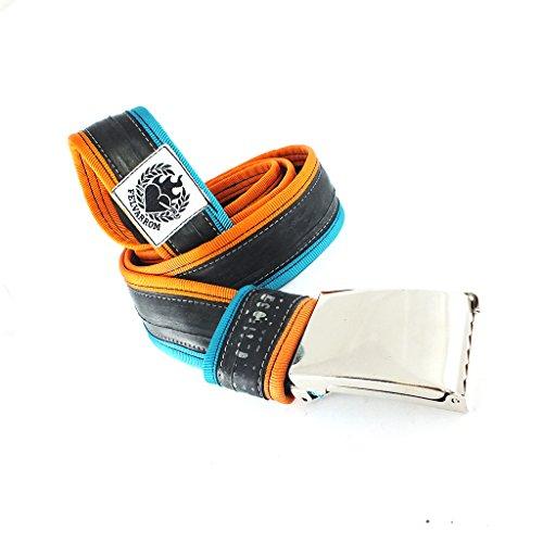 100% VEGANER VEGETARISCHER GÜRTEL in Vielen Farben - Ohne Loch, Verstellbar mit Druckknopfverschluss - aus Upcycelten Fahrrad-Innenrohr (TürkisBlau-Orange, L=125 cm (Taille zwischen 95-104 cm))