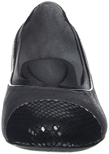 Rockport Damen Total Motion 20mm Hidden Wedge Gore Captoe Geschlossene Ballerinas Black (Black Shiny Leather)