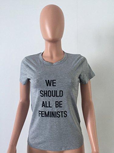 QIYUN.Z Frauen Sommer Kurzarm T-Shirts Brief We Should All Be Feminists Grau