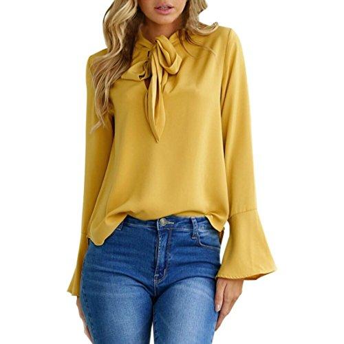 Tefamore donne magliette casuali delle camicette della del collo del rivestimento del manicotto camicia (m, giallo)