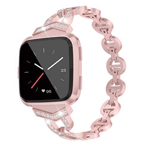 SYY Armband Für Fitbit/Versa Lite, Metall mit Strass Ersatzband Uhrenarmband Band Armbänder, Schwarz/Gold/Pink/Rose Gold/Silber (Rosa)