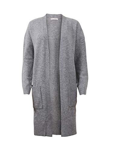 TOM TAILOR Denim Damen Strickjacke Lange, Long Cardigan, Grau (Light Silver Grey Mé 10367), Large