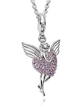 MATERIA 925 Sterling Silber Charms Anhänger Engel Engelsflügel und Zirkonia Herz rosa + Box #C8