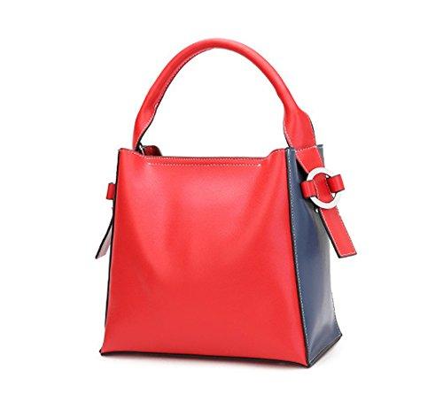XinMaoYuan Herbst Und Winter Rindsleder Schulter Messenger Bag Handmade Damen Eimer Soft Reißverschlusstasche Rot mit Blau