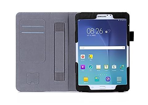 ISIN Housse pour Tablette Série Étui Premium PU avec Support pour Samsung Galaxy Tab S2 8 de 8.0 pouces SM-T710 T713 T715 T719 Tablette Avec Sangle Velcro et Slot Cartes (Noir)