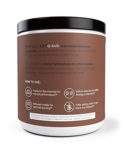 Perfect Keto Base Exogenous Ketone Supplement – Beta-Hydroxybutyrate (Bhb) Salts Developed To Burn Fat, Increase Energy And Kickstart Ketosis. Chocolate Sea Salt Flavor (211G)