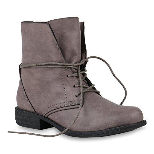 Stiefelparadies Damen Stiefeletten Schnürstiefeletten Leder-Optik Schuhe Kurzschaft-Stiefel Boots Schnürboots 146646 Grau Schwarz 40 ()