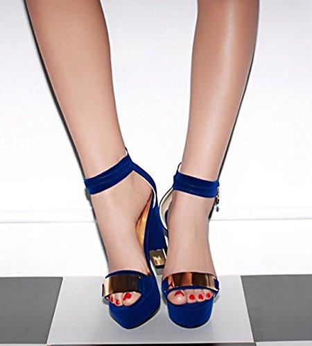 Aisun Damen Metall Offene Zehe Platform Sandalen Pumps Blau