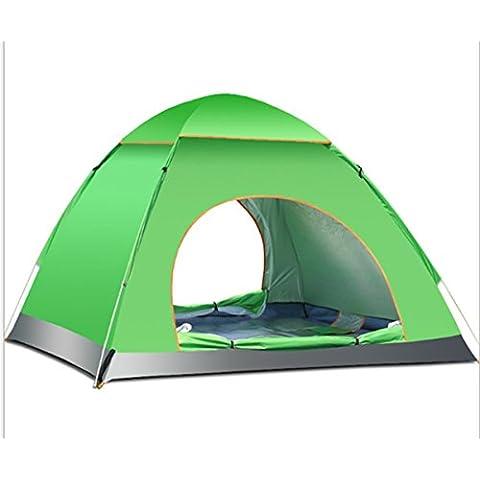 3–4Persona grande tenda Pop Up impermeabile per sport all' aperto, campeggio, escursionismo, da spiaggia con zip porta e borsa per il trasporto, Green