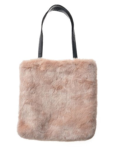 Haute For Divas Donna New Fashion Color Ecopelliccia Con Borsa A Tracolla Zipper - Beige, Grande Rosa Chiaro