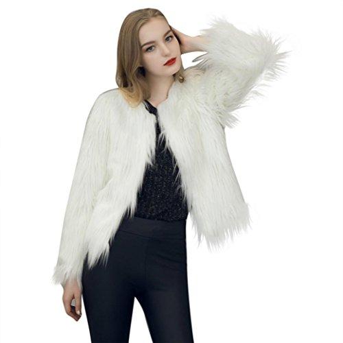 Fausse Fourrure Manteau Femme,LMMVP Femmes Fausse Fourrure Doux Chaud Manche Longue Manteau de Survêtement Parka Veste blanc