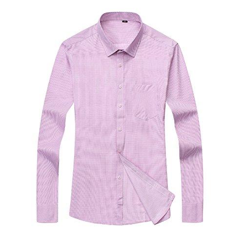 Bmeigo Uomo Slim Fit Solid Point Collar Plaid manica lunga Camicie classiche -H02 Pink