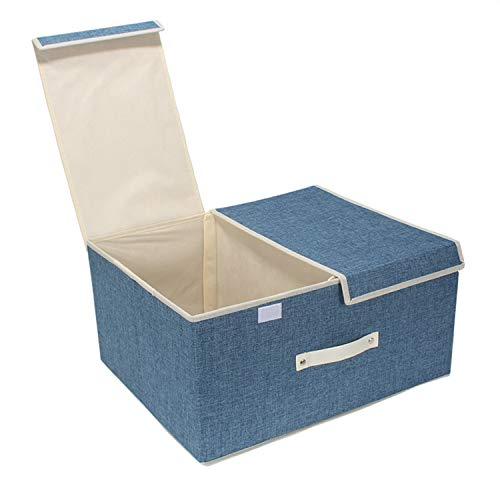 HOKIPO® Foldable Non-Woven Storage Boxes for Clothes with Lid, Blue, 50 x 40 x 25 cm