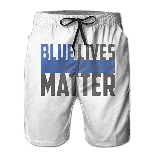 Fashion Men's Beach Pants Blue Lives Matter Quick Dry Summer Beach Shorts for Men Boys,M