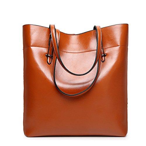 Frauen Handtaschen Mode Handtaschen Für Frauen Einfache PU Leder SchultertaschenTote Taschen Yellowbrown