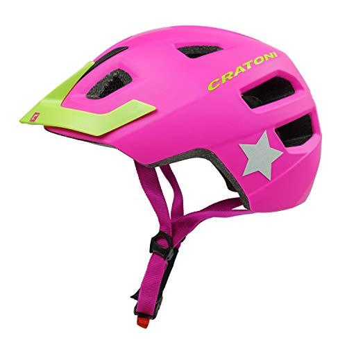 Cratoni Kinderfahrradhelm Maxster Pro, pink-Lime - Reflektor, Gr. XS-S (46-51 cm)