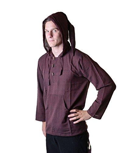 KUNST UND MAGIE Nepal Fischerhemd Kurtha Einfarbig Hemd Poncho Mittelalter mit Zipfelkapuze, Größe/Size:XL;Farbe:Braun