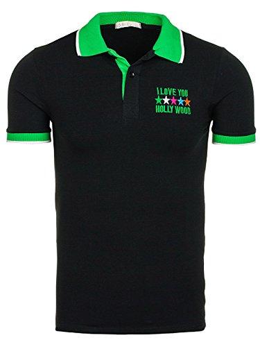 BOLF Herren T-Shirt Polo Kurzarm Tee Hemd Sommer Classic Slim Casual 3C3 Motiv Schwarz