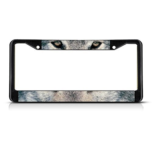 Wolf Animal Eyes METAL Black License Plate Frame Tag Holder by Fastasticdeals