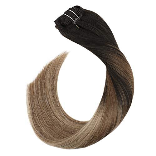 Ugeat 120grammo 10pcs capelli extension veri clip balayage color marrone piu scuro e medio marrone con marrone chiaro dorato extension capelli veri 22