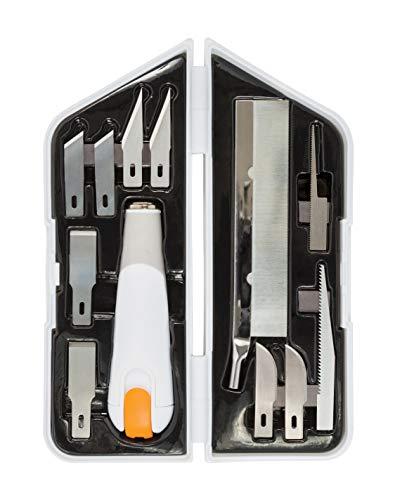Fiskars Coltello ad alte prestazioni, Set da 8 pezzi, Lunghezza totale: 21 cm, Incl. 7 lame, Acciaio di qualità/Plastica, Bianco/Arancione, Premium, 1024385